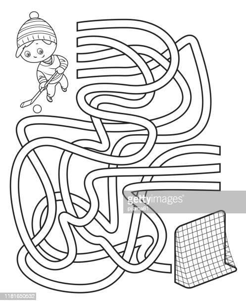 illustrazioni stock, clip art, cartoni animati e icone di tendenza di maze, little boy playing ice hockey - intrico