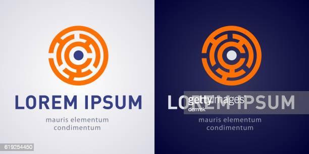 illustrazioni stock, clip art, cartoni animati e icone di tendenza di maze logo - intrico