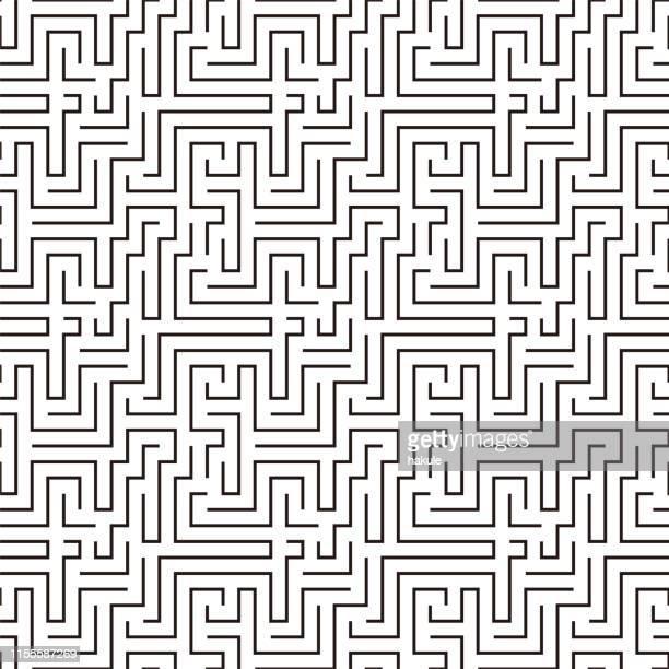 illustrazioni stock, clip art, cartoni animati e icone di tendenza di maze pattern seamless, vector illustration - intrico