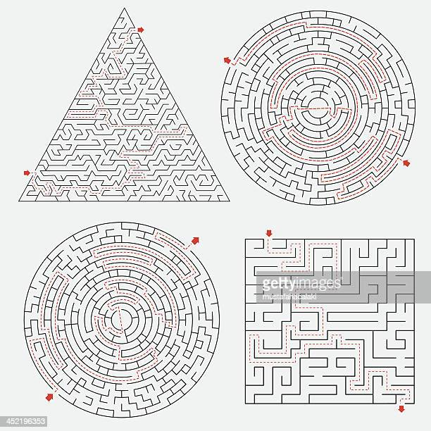 illustrazioni stock, clip art, cartoni animati e icone di tendenza di set con soluzioni di labirinto - intrico