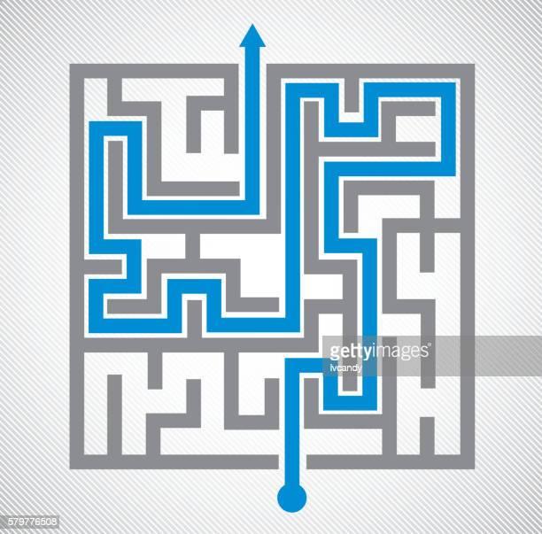illustrazioni stock, clip art, cartoni animati e icone di tendenza di labirinto  - intrico