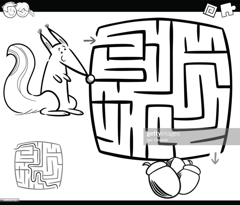 Maze with squirrel coloring page stock vector getty images