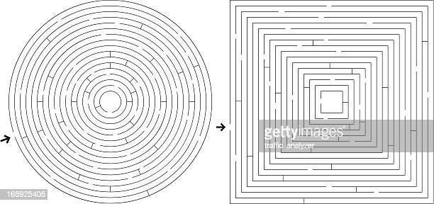 illustrazioni stock, clip art, cartoni animati e icone di tendenza di labirinti - intrico