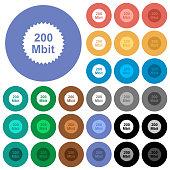 200 mbit guarantee sticker round flat multi colored icons