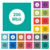 200 mbit guarantee sticker square flat multi colored icons