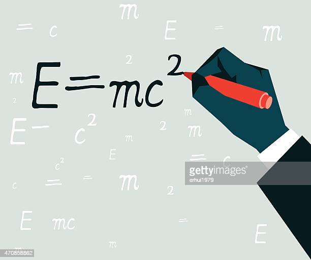 e=mc2-illustration - physicist stock illustrations, clip art, cartoons, & icons