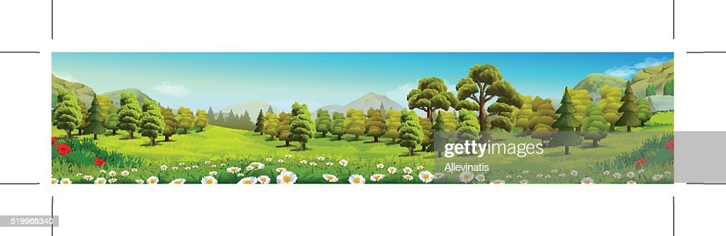 Meadow and forest, nature landscape