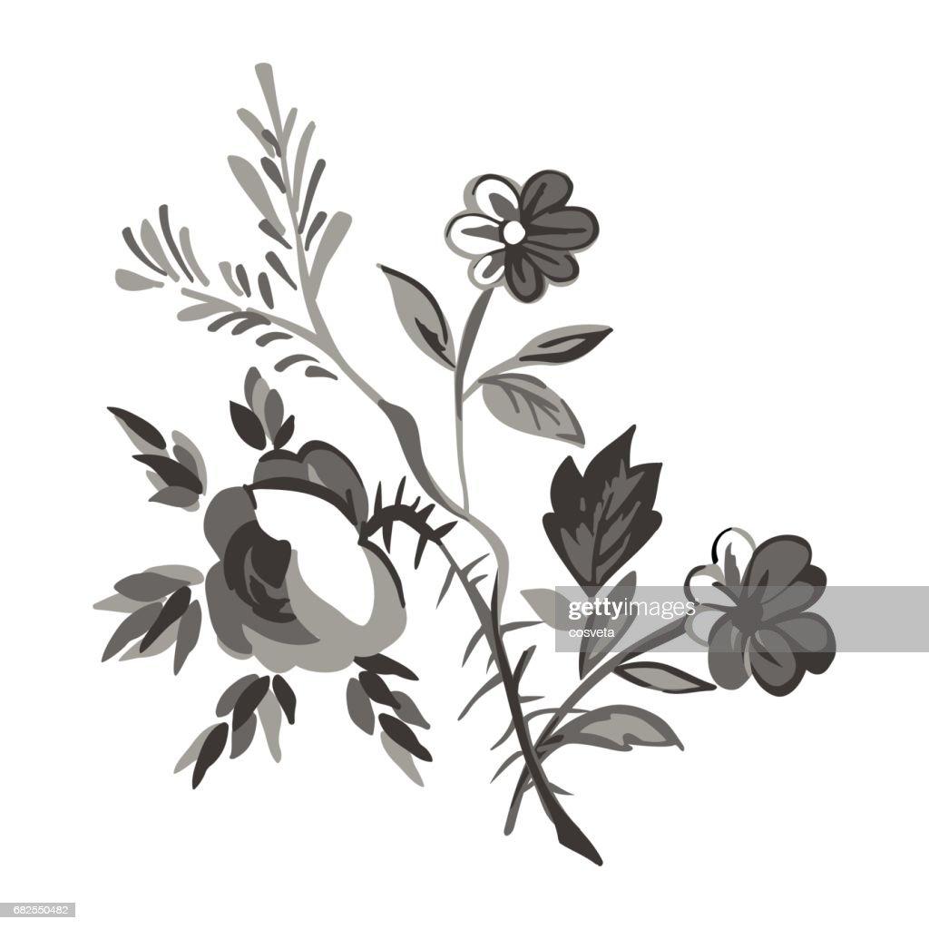 Meadow Flower And Leaf Bouquet Vector Isolated On White Floral