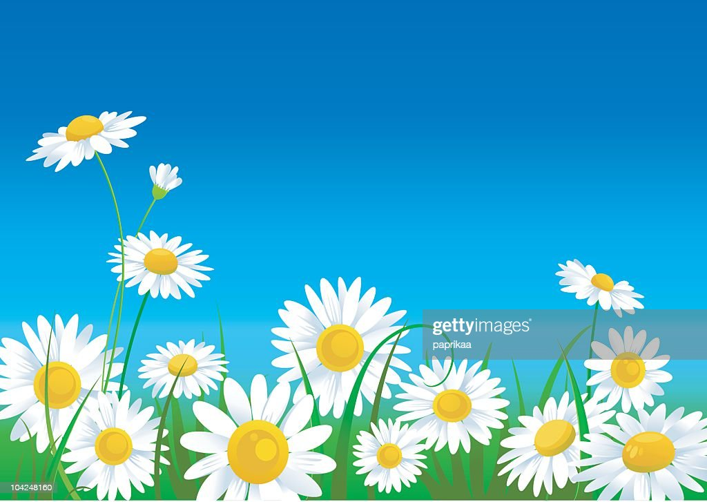 A meadow full of animated daisies that are vivid in color