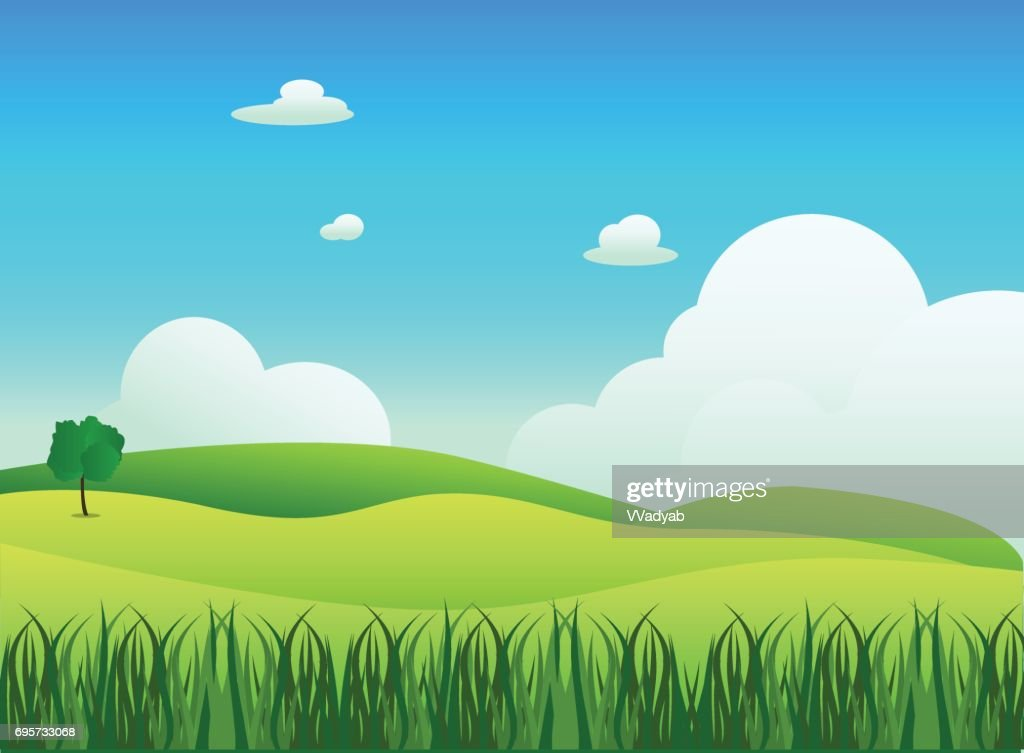 Meadow landscape with grass foreground, vector illustration.Green field and sky blue with white cloud background