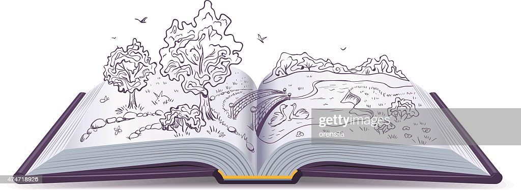 Meadow, River, bridge, trees in pages open book. Conceptual illustration