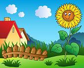 Meadow with cartoon sunflower