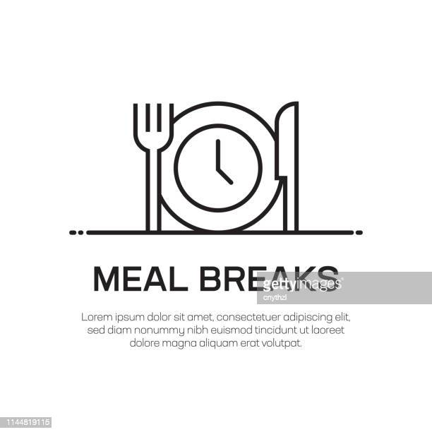 meal breaks vector line icon - simple thin line icon, premium quality design element - lunch stock illustrations
