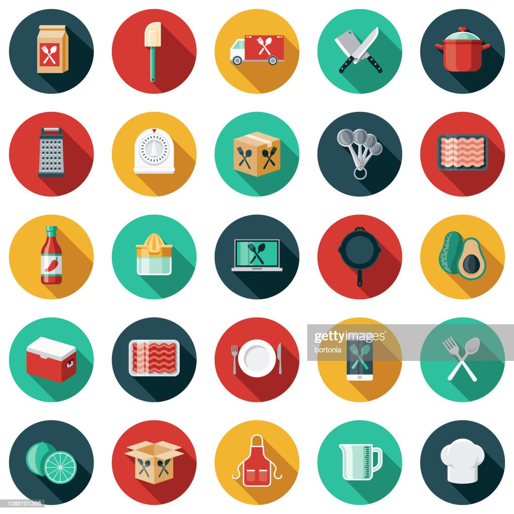 Meal Kit Delivery Icon Set : Stock Illustration