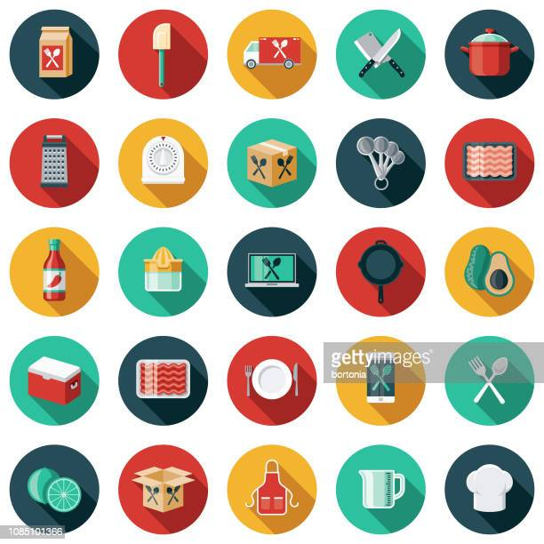 meal kit delivery icon set - color image stock illustrations