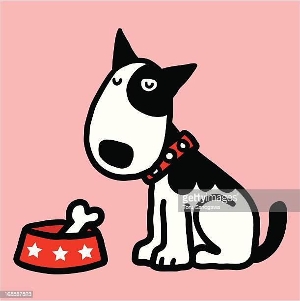 meal of bullterrier - bull terrier stock illustrations