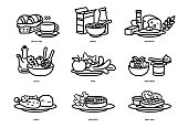 meals of people who should eat in a day line flat icon concept. Ideas for creating a nutritional description for daily food and consumer research.