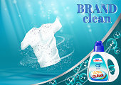 Means for washing and bleaching of linen, with a bottle template. On blue water background with bubbles.