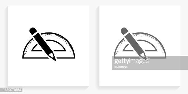 measurement tools black and white square icon - protractor stock illustrations, clip art, cartoons, & icons