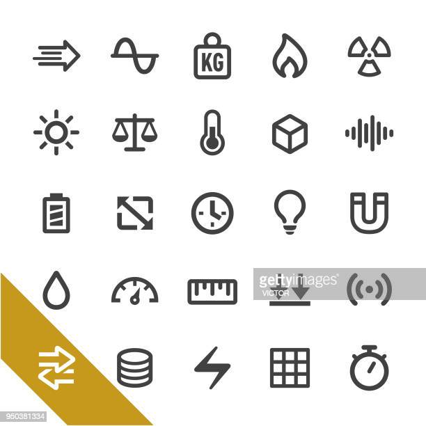 measurement units icons - select series - meter unit of length stock illustrations
