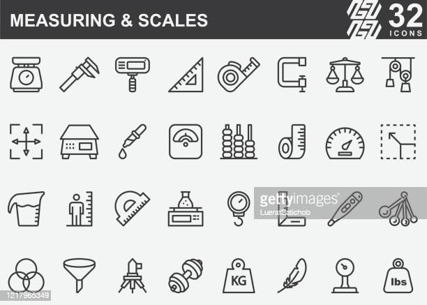 measuring and scales line icons - meter unit of length stock illustrations