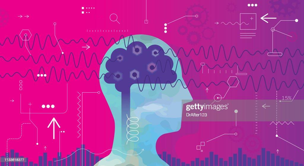 Measuring Brain Waves : stock illustration