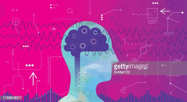 measuring brain waves - human body part stock illustrations