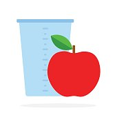 Measuring cup and red apple vector flat isolated