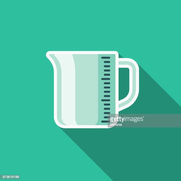measuring cup flat design kitchen utensil icon - volume fluid capacity stock illustrations