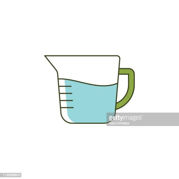 measuring jug, cup icon - volume fluid capacity stock illustrations