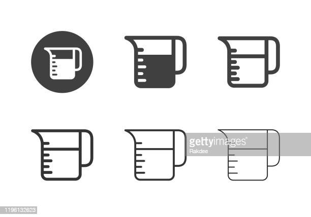 measuring jug icons - multi series - volume fluid capacity stock illustrations