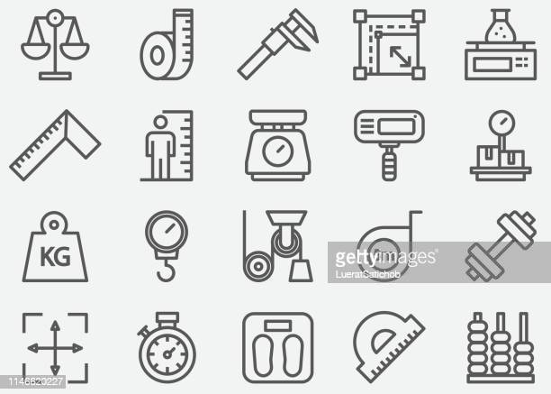 measuring line icons - scale stock illustrations