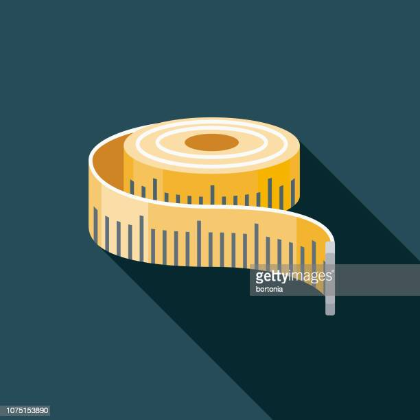 measuring tape flat design craft supplies icon - tape measure stock illustrations