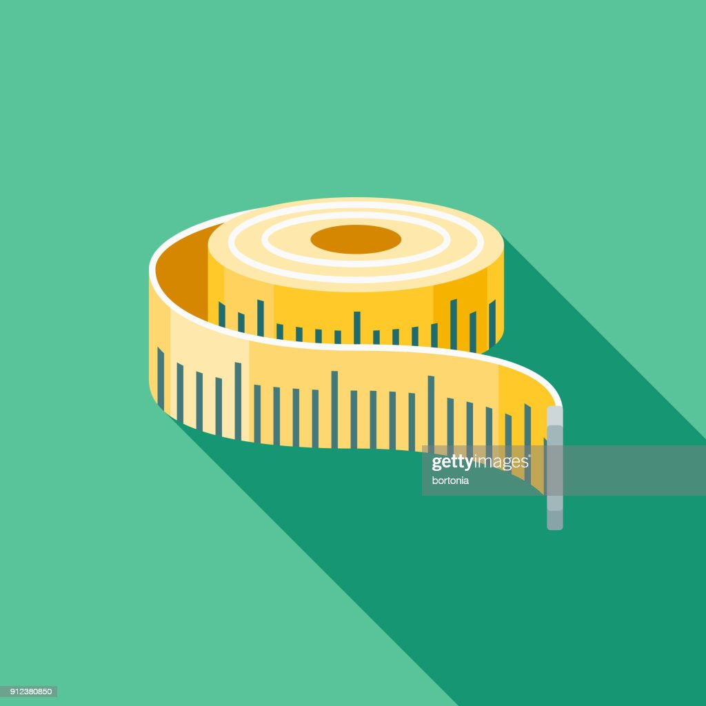 Measuring Tape Flat Design Fitness & Exercise Icon : stock illustration