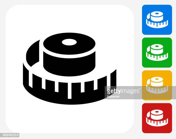measuring tape icon flat graphic design - tape measure stock illustrations, clip art, cartoons, & icons