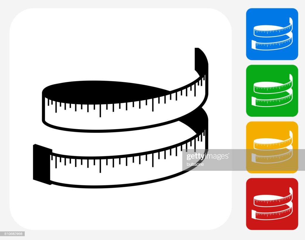 Measuring Tape Icon Flat Graphic Design