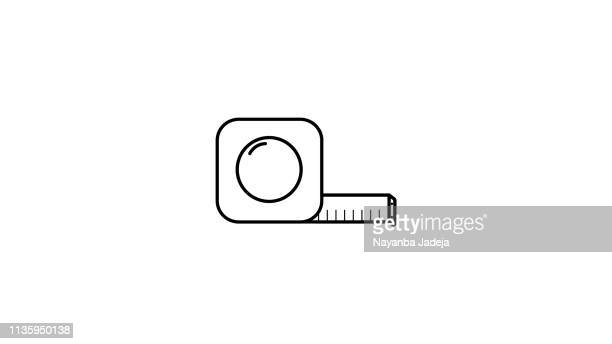 measuring tape icon line art - tape measure stock illustrations