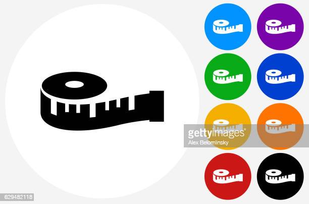 measuring tape icon on flat color circle buttons - tape measure stock illustrations
