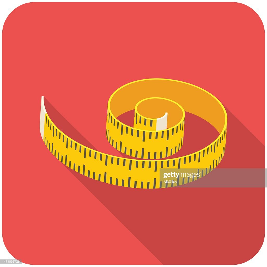 Measuring tape icon on red background