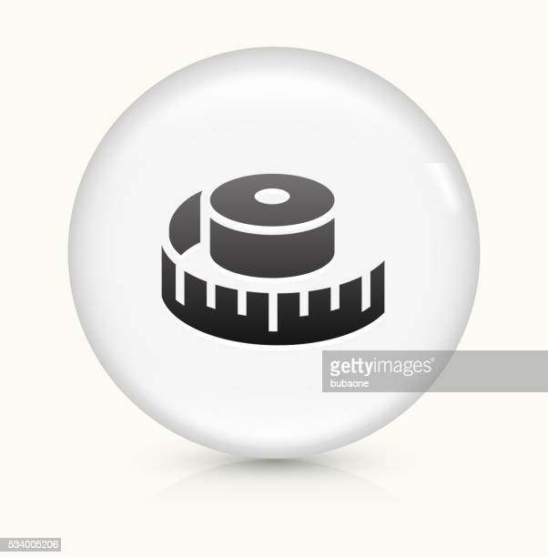 measuring tape icon on white round vector button - letrac stock illustrations