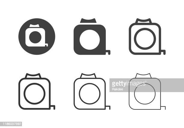 measuring tape icons - multi series - inch stock illustrations