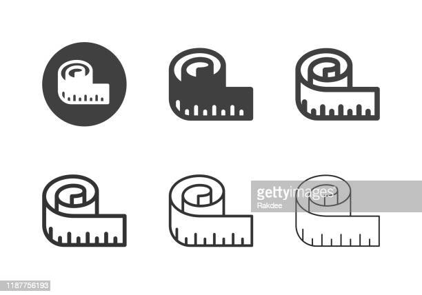 measuring tape icons - multi series - meter unit of length stock illustrations