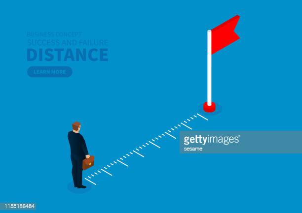 measuring the distance of the merchant from the destination flag - meter unit of length stock illustrations