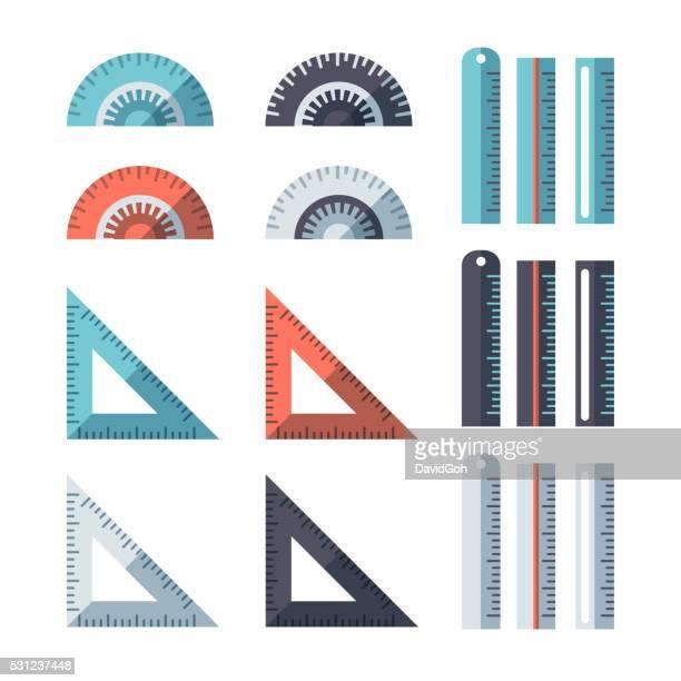 measuring tools flat design set - protractor stock illustrations, clip art, cartoons, & icons