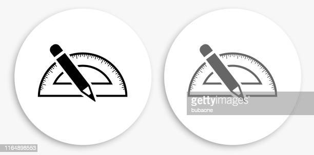 measurment tools black and white round icon - protractor stock illustrations, clip art, cartoons, & icons