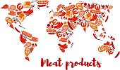 Meat and sausage products shaped as world map