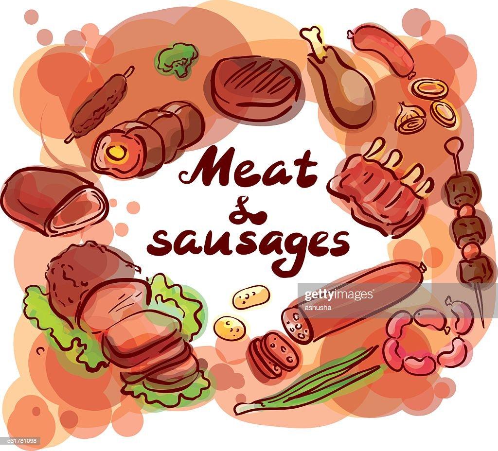 Meat and sausages set sketch illustration lettering