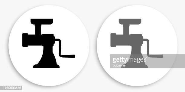 Meat Grinder Black and White Round Icon