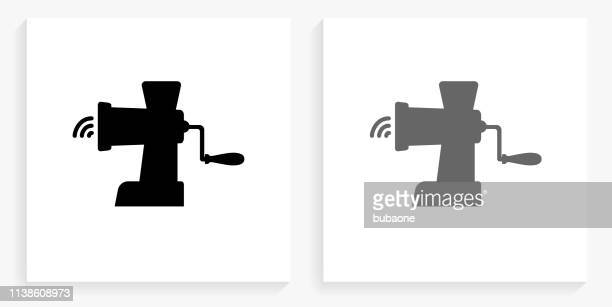 Meat Grinder Black and White Square Icon
