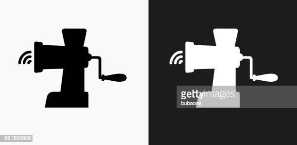 Meat Grinder Icon on Black and White Vector Backgrounds